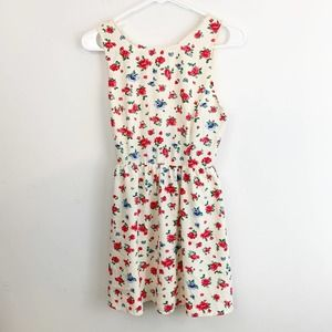 Forever 21 White Floral Sundress Lace Up Mini S